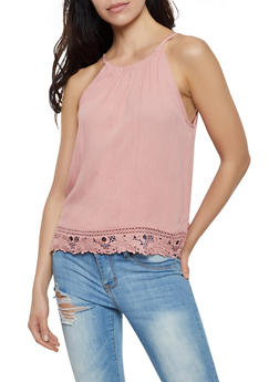 Sleeveless Crochet Trim Top - 0002054260889