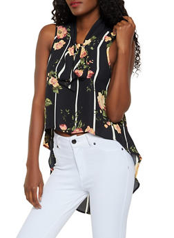 Floral Striped Tie Neck High Low Blouse - 0002074293100