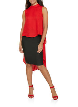 Mock Neck High Low Blouse - 0002074293126
