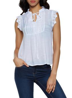 Lace Yoke Button Front Top - 0002074297109