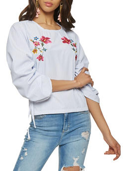 Drawstring Sleeve Embroidered Top - 0004038349668