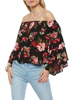 Floral Off the Shoulder Bell Sleeve Top - 0004054269859