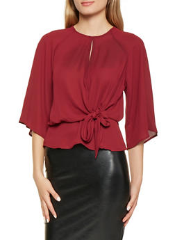 Slit Back Tie Front Blouse - 0004058750908