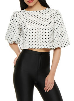 Polka Dot Zip Back Crop Top - 0004074291149