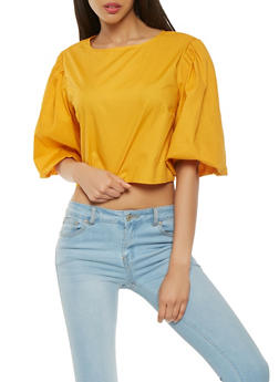 Bubble Sleeve Zip Back Top - 0004074291150