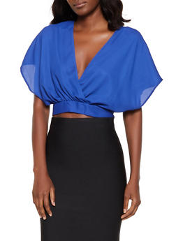 Faux Wrap Split Tie Back Crop Top - 0004074293111