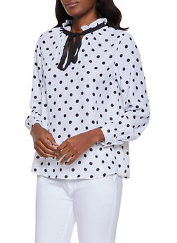 Tie Neck Polka Dot Blouse - 0005074293110