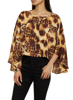 Cheetah Print Bell Sleeve Top - 0005074293123