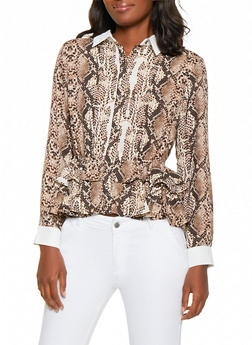 Tiered Snake Print Peplum Shirt - 0005074293128