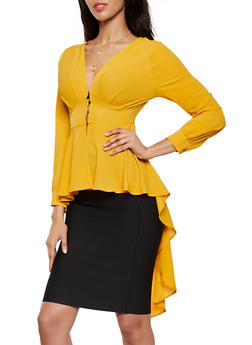 Button Front High Low Peplum Top - 0005074293131