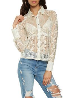 Metallic Knit Lace Shirt - 0006074291140