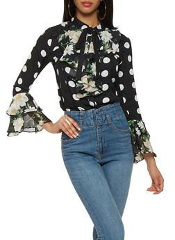 Floral Polka Dot Tie Neck Blouse - 0006074291144