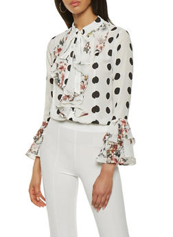 Floral Polka Dot Tie Neck Blouse - 0006074291144