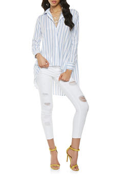 Striped High Low Button Front Shirt - 0006074291147