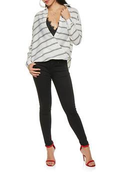 Striped Faux Wrap Button Front Shirt - 0006074291151