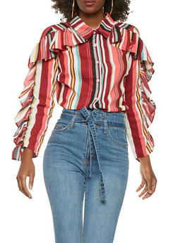 Striped Ruffle Sleeve Top - 0006074291157