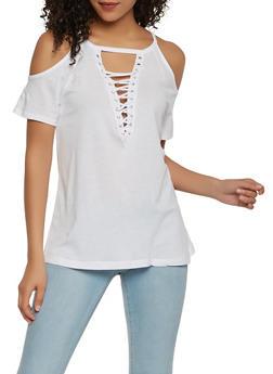 Basic Lace Up Cold Shoulder Top - 0012054260472