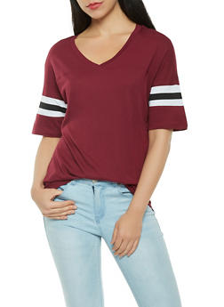 Varsity Stripe V Neck Tee - 0012054260502