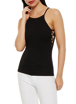 Caged Side Rib Knit Tank Top - 0012054260520