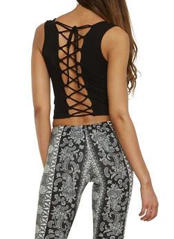 Rib Knit Lace Up Back Tank Top - 0012054260521