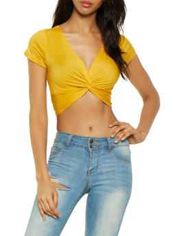 Solid Twist Front Crop Top - 0012054261115
