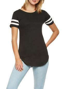 Striped Sleeve Solid Tunic Tee - 0013033871811