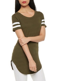Striped Sleeve Solid Tunic Tee - 0013033871811