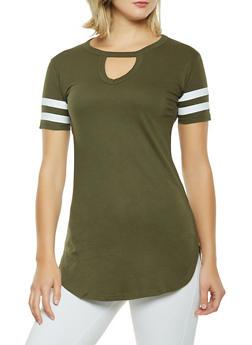 Striped Sleeve Tunic Tee - 0013033873621
