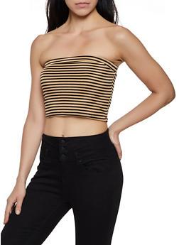 Striped Rib Knit Tube Top - 0014074293045