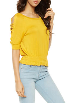 Lace Up Sleeve Cold Shoulder Top - 0016058752588