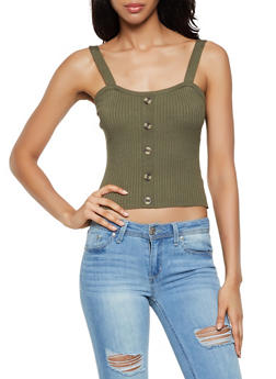 Ribbed Knit Button Crop Top - 0020034281794