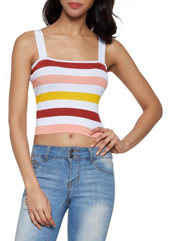 Striped Rib Knit Cropped Top - 0020034281839