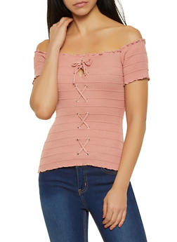 Rib Knit Off the Shoulder Lace Up Top - 0020054261288