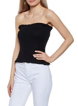 Solid Ribbed Knit Tube Top - 0020074051750