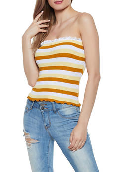 Striped Ruffle Edge Tube Top - 0020074051752