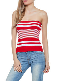Rib Knit Striped Tube Top - 0020074051954