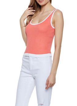 Rib Knit Contrast Trim Tank Top - 0020074051955