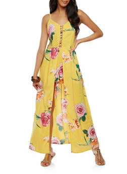 Floral Caged Neck Detail Maxi Romper - 0045015050458