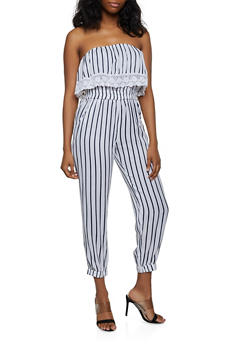 Striped Crochet Trim Tube Jumpsuit - 0045038340321
