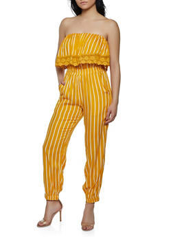 Striped Crochet Trim Tube Jumpsuit - 0045038340321