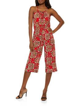 Printed Keyhole Wide Leg Jumpsuit - 0045038340322