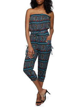 Printed Strapless Tube Jumpsuit - 0045038340323