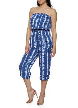Printed Strapless Tube Jumpsuit - BLUE - 0045038340323