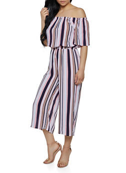 Wide Leg Striped Off the Shoulder Jumpsuit - 0045038340325