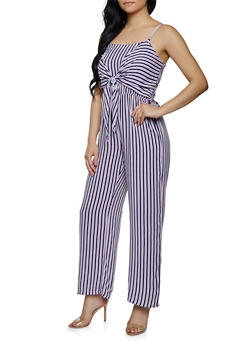 Sleeveless Tie Front Striped Jumpsuit - 0045038340327