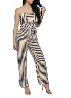 3e905ddfd6a Sleeveless Tie Front Striped Jumpsuit - 0045038340327