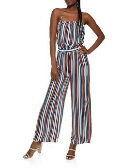 Printed Halter Tie Back Jumpsuit - 0045038340329