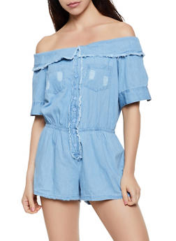 Fold Over Off the Shoulder Denim Romper - 0045038340345