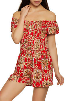 Printed Off the Shoulder Lace Up Romper - 0045038340357