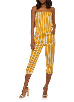 Cinched Waist Striped Tube Jumpsuit - 0045038341320